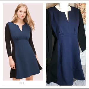 NEW Kate Spade Black blue 3/4 sleeves dress sz 10